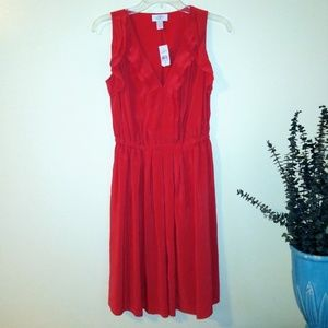 Anny Taylor Loft 100% Silk Red Dress